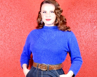 1950s Angora Royal Blue Sweater Luisa Spagnoli