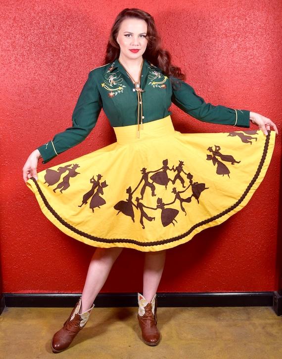 1950s 50s Style Western Novelty Print Circle Skirt - image 1