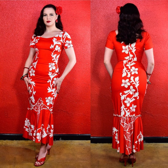 1950s 60s Hawaiian Cotton Dress