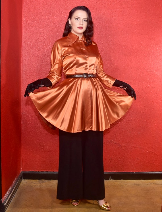 1940s Hostess Jacket Loungewear Copper Satin