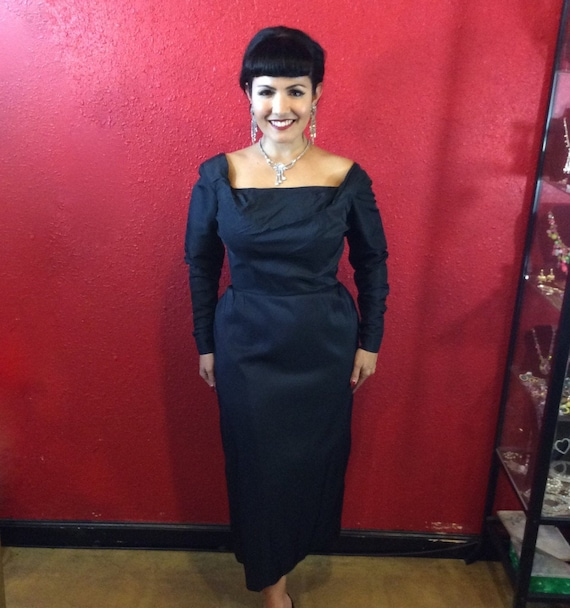 1940s 50s Ceil Chapman Black Draped Fitted Cockta… - image 3