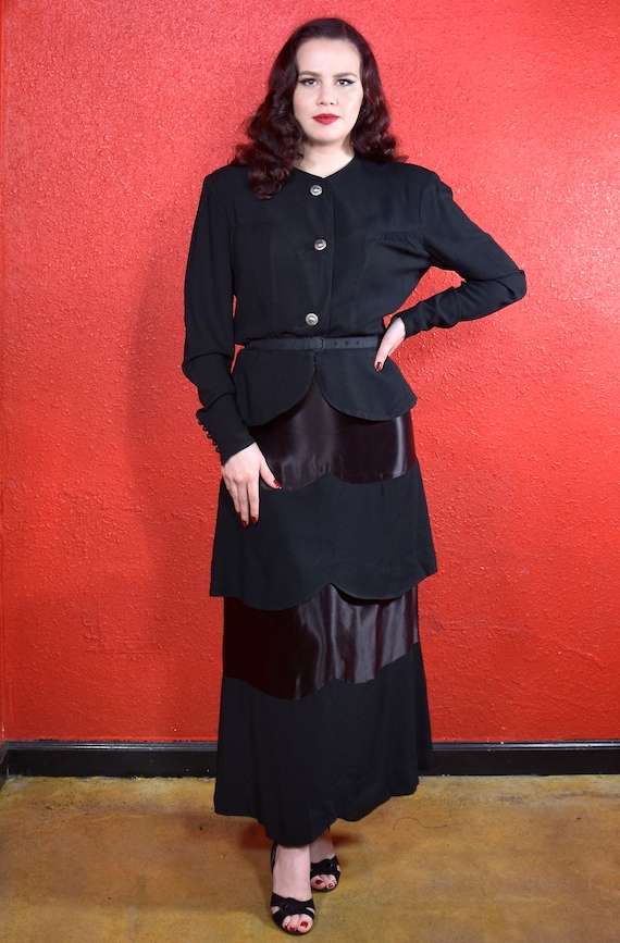 1930s 40s Black Crepe Skirt Suit Olga Original - image 3