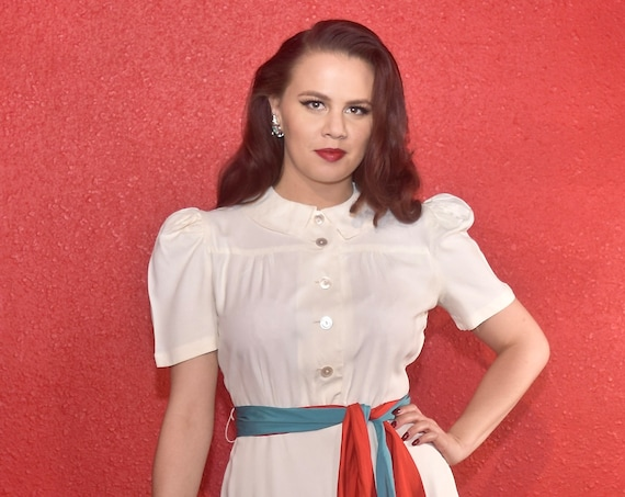 1940s Rayon Dress White with Color Block Tie Joan… - image 8