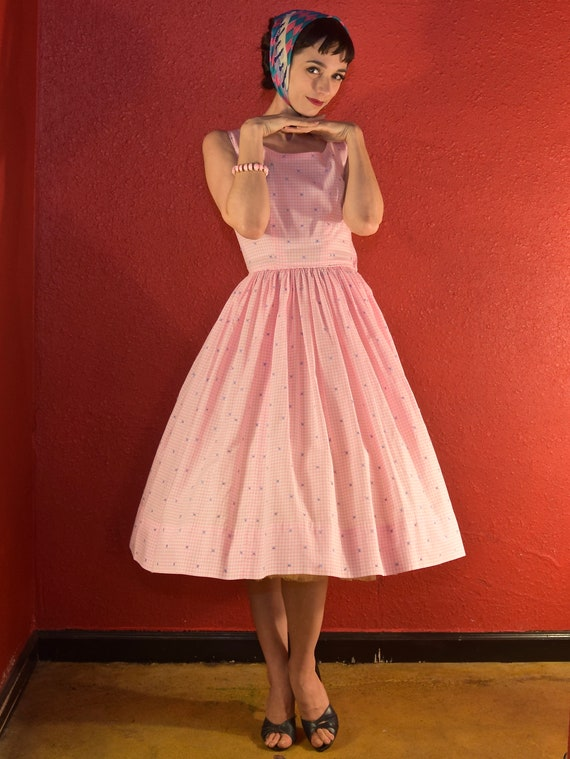 1950s Pink Gingham Dress Cotton Fit & Flare - image 2