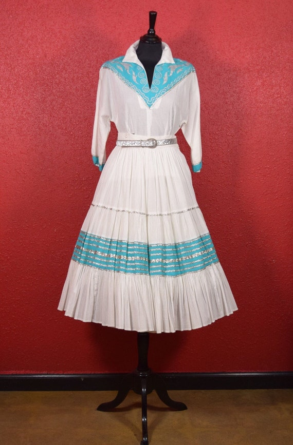 1950s Patio Dress Faye Creations Aqua & White - image 5