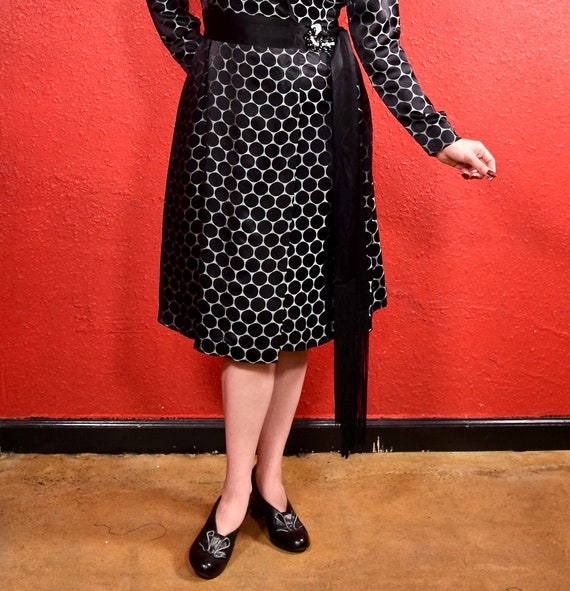 1920s Black Dot Silk Shift Chemise Dress - image 3