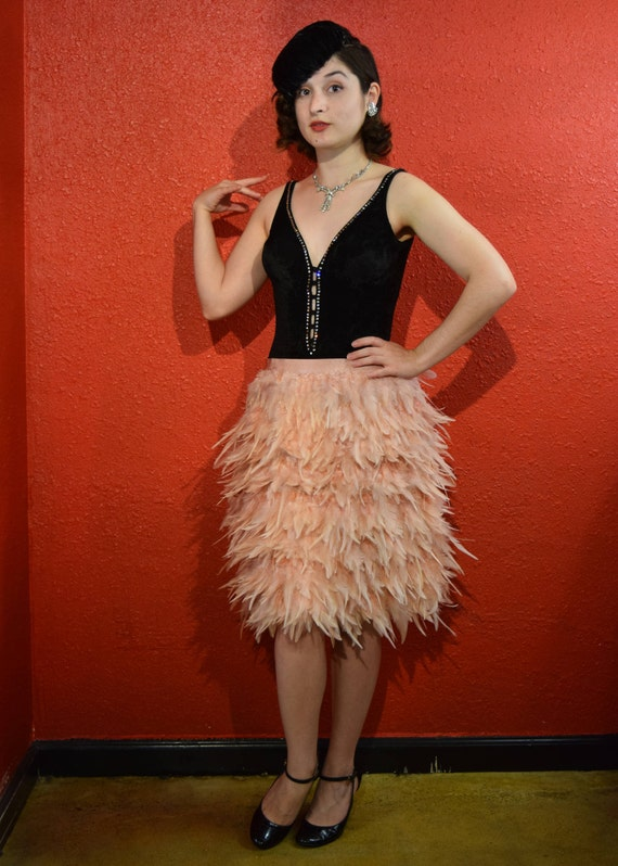 Vintage Feather Skirt 1920s Style Dolly Sisters Co