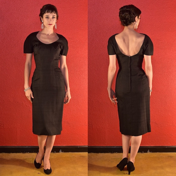 1950s Estevez Grenelle Black LBD Silk Faille Desig