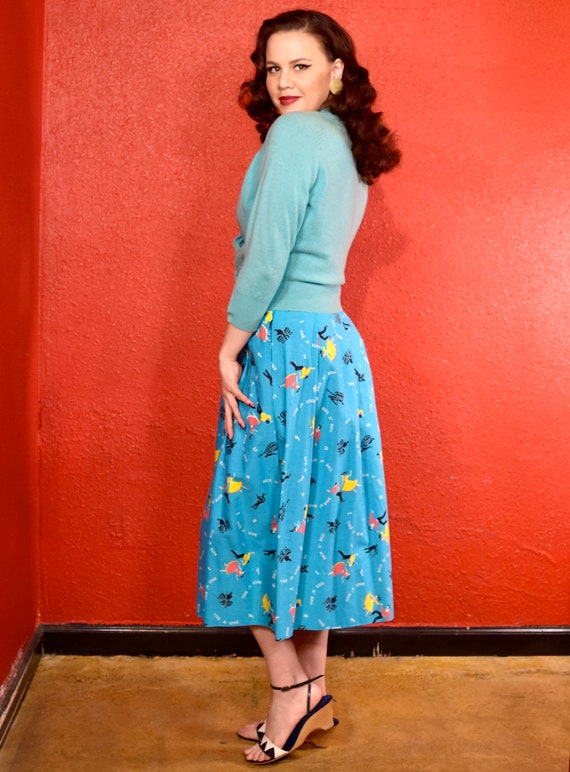 1950s Rock and Roll Novelty Print Skirt - image 4