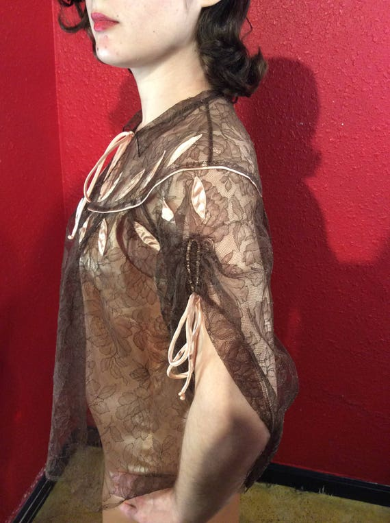 1950s Lucie Ann Lace Lingerie Bed Jacket Loungewe… - image 2