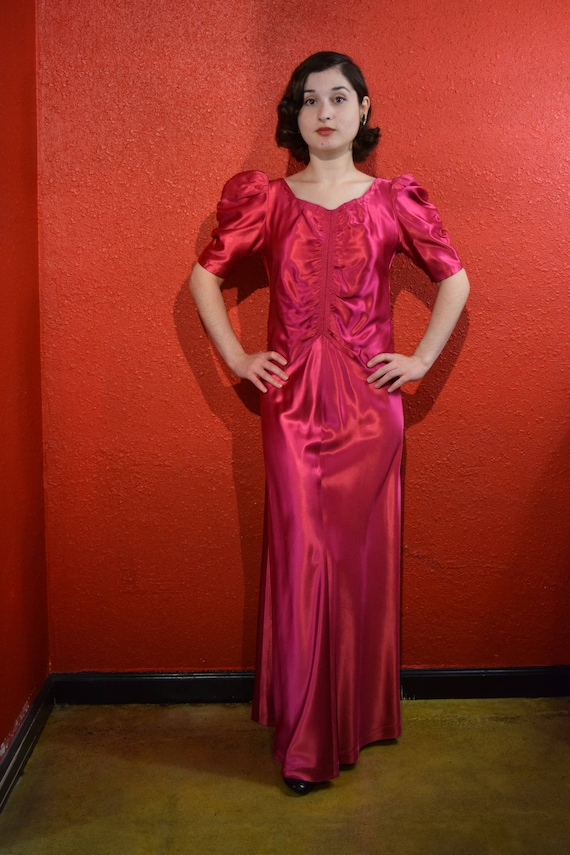 1930s Fuchsia Satin Dress Puffed Sleeves Deco