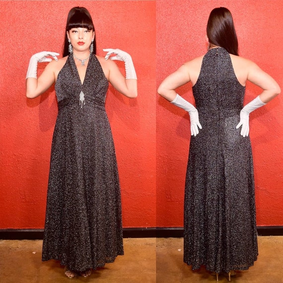1970s Silver Lurex Maxi Dress