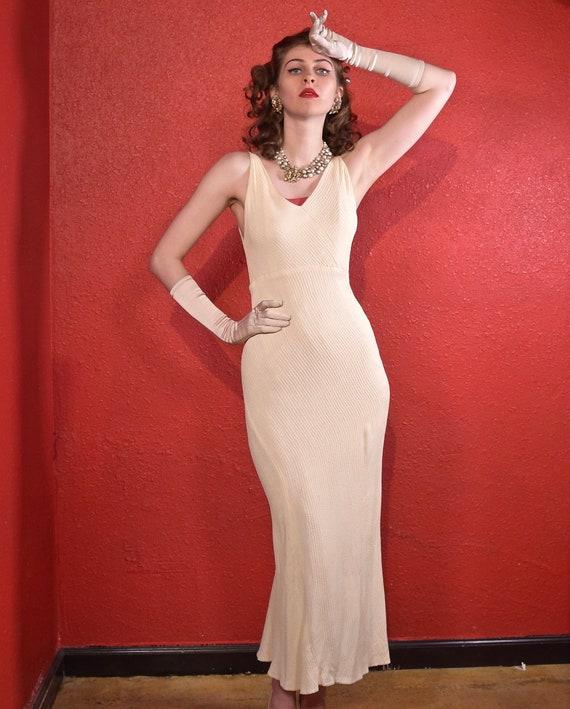 1930s Waffle Crepe Bias Cut Ivory Dress
