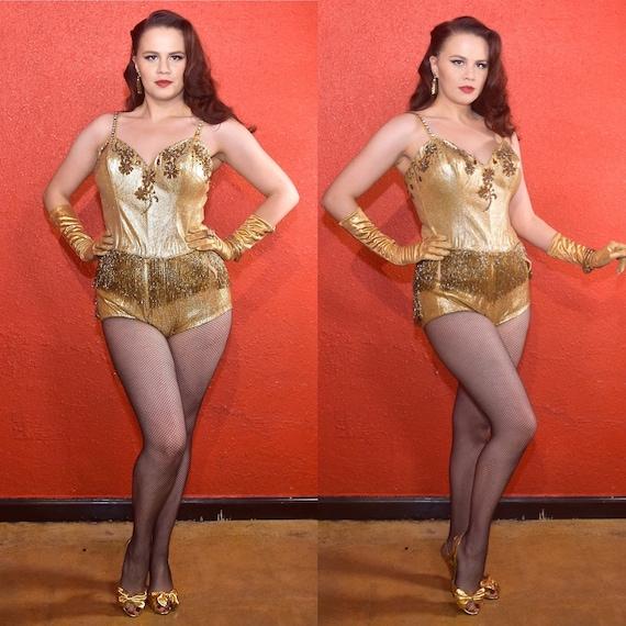 1950s Gold Lurex Showgirl Burlesque Swimsuit Costu