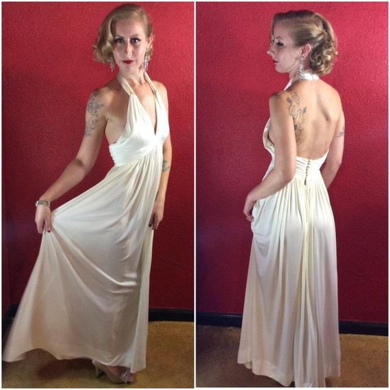 1960s 70s Donald Brooks Dress Designer White Jerse