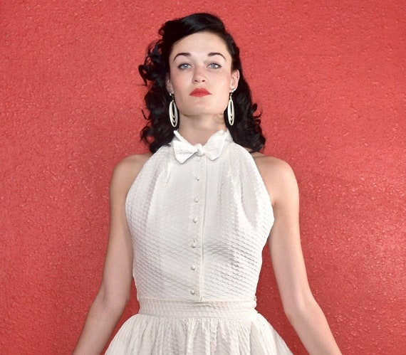 Rare Claire McCardell 1950s White Dress Two Piece - image 7