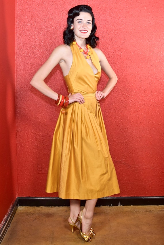 1950s Gold Polished Cotton Two Piece Dress Nelly … - image 3
