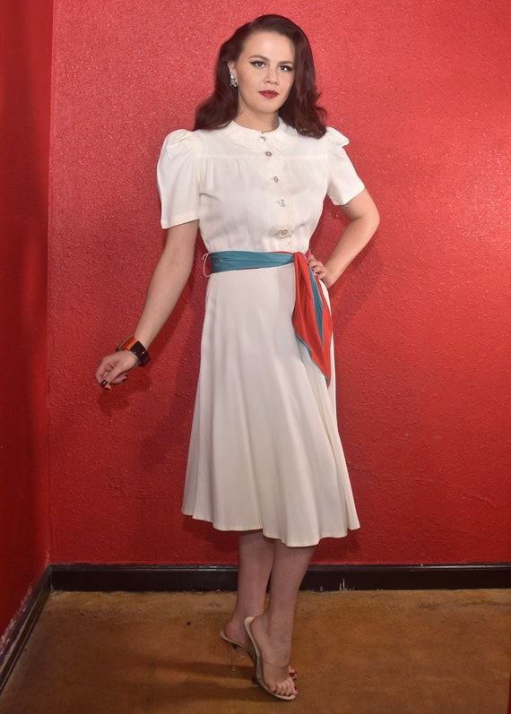 1940s Rayon Dress White with Color Block Tie Joan… - image 2