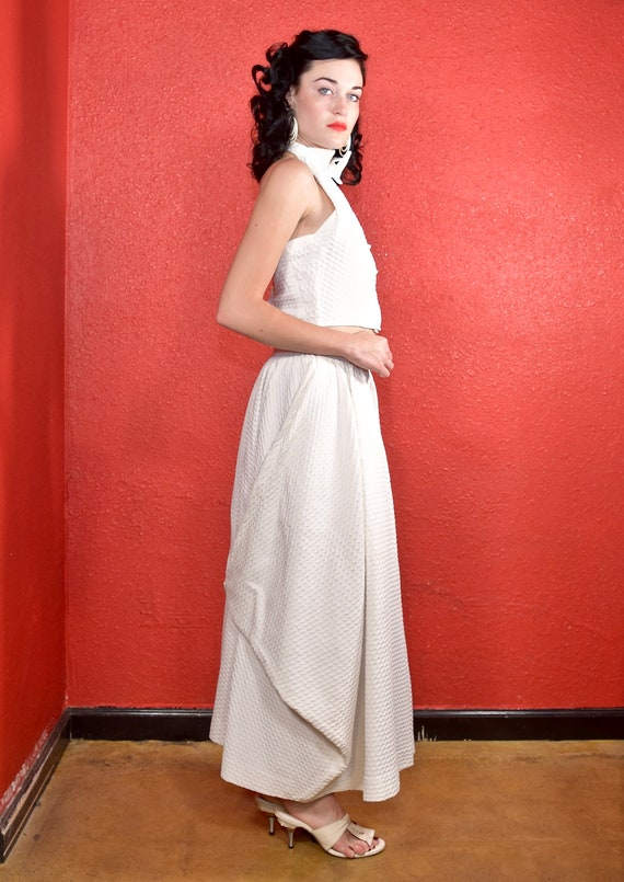 Rare Claire McCardell 1950s White Dress Two Piece - image 5