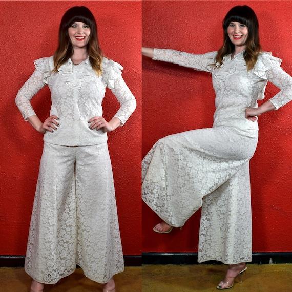 1970s White Lace Pants Suit Wide Leg Pants Ruffle