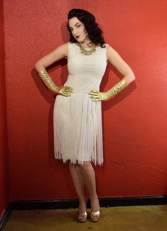 1950s White Fringe Crepe Cocktail Dress Bombshell