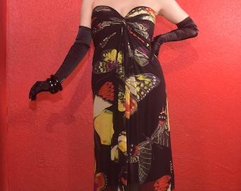 Vintage Tadashi Butterfly Print Chiffon Gown Strapless