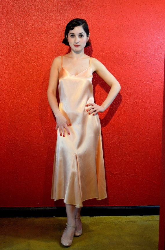 1930s Style Peach Satin Slip Dress Gored Skirt