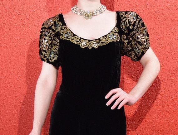 1930s Black Velvet Gold Soutache Beaded Gown - image 7