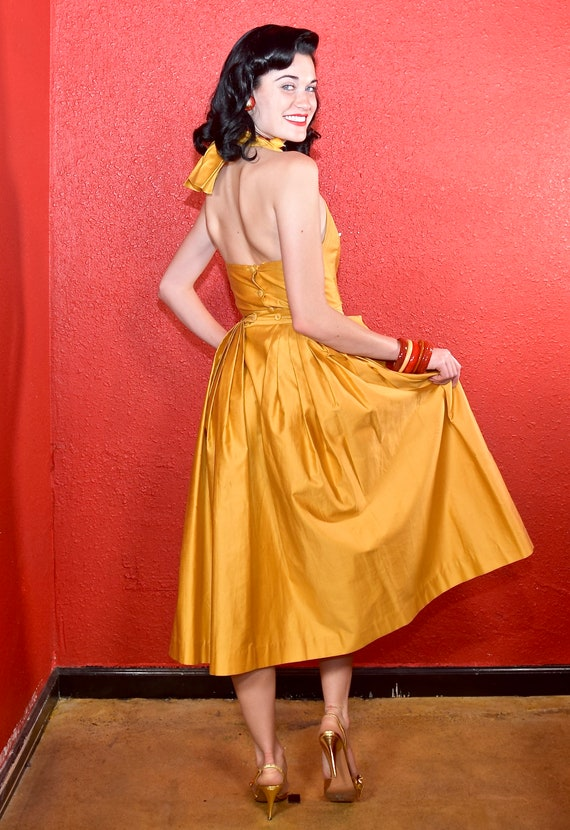 1950s Gold Polished Cotton Two Piece Dress Nelly … - image 5