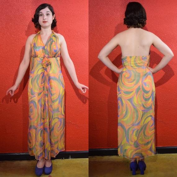 1970s Silk Chiffon Dress Psychedelic Swirl Haltern