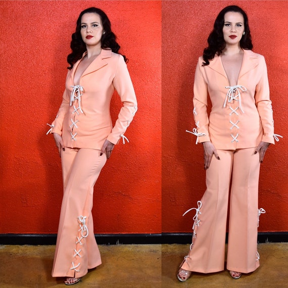1970s Fredericks of Hollywood Melon Pants Suit Lac