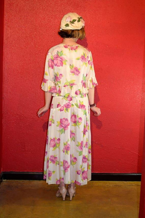 1920s 30s Rose Print Rayon Dress with Bolero - image 6