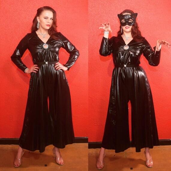 Vintage Catsuit Wet Look Emma Peel Style Jumpsuit