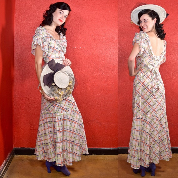 1930s Cotton Plaid Day Dress Ruffle Trim
