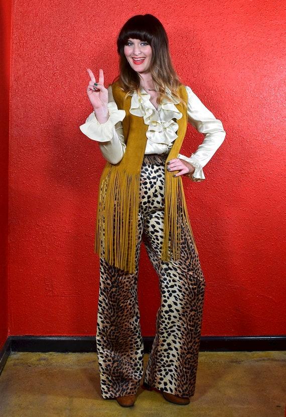 1960s 70s Leopard Print Wide Leg Pants - image 7