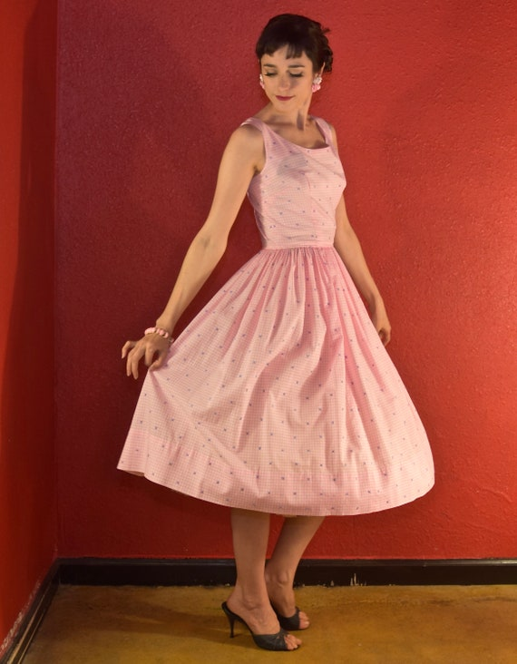 1950s Pink Gingham Dress Cotton Fit & Flare - image 8