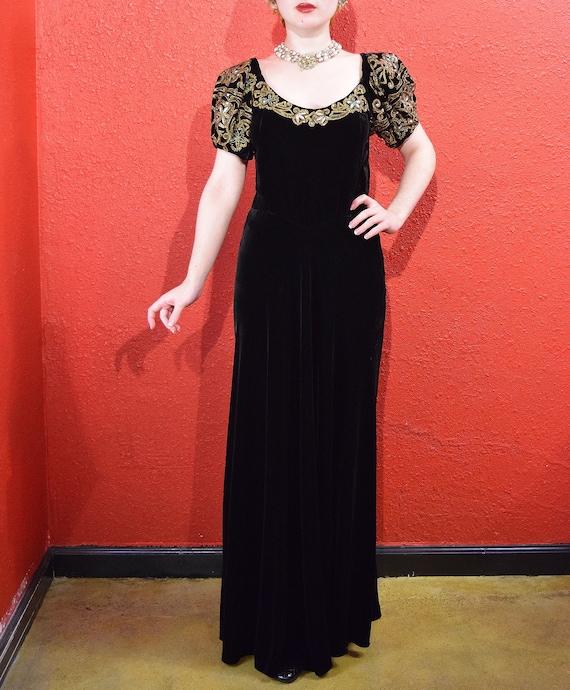 1930s Black Velvet Gold Soutache Beaded Gown - image 3