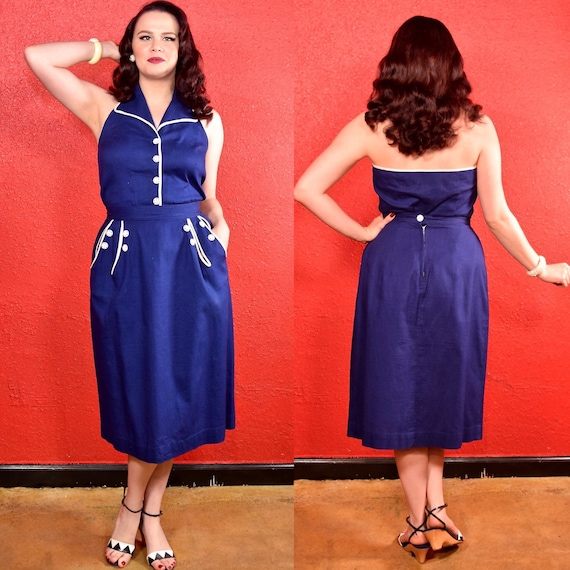 1940s 50s Blue & White Halter Neck Dress Top and S