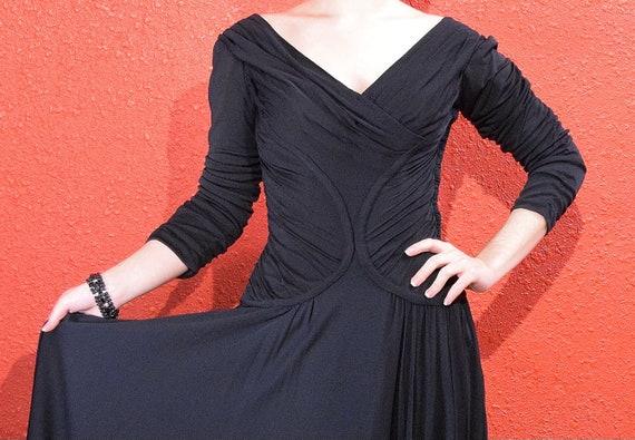 1950s Ceil Chapman Designer Jersey Draped Dress - image 4