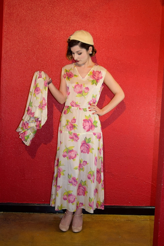1920s 30s Rose Print Rayon Dress with Bolero