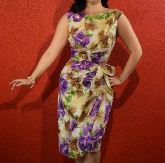 1950s Purple Rose Sarong Wiggle Dress