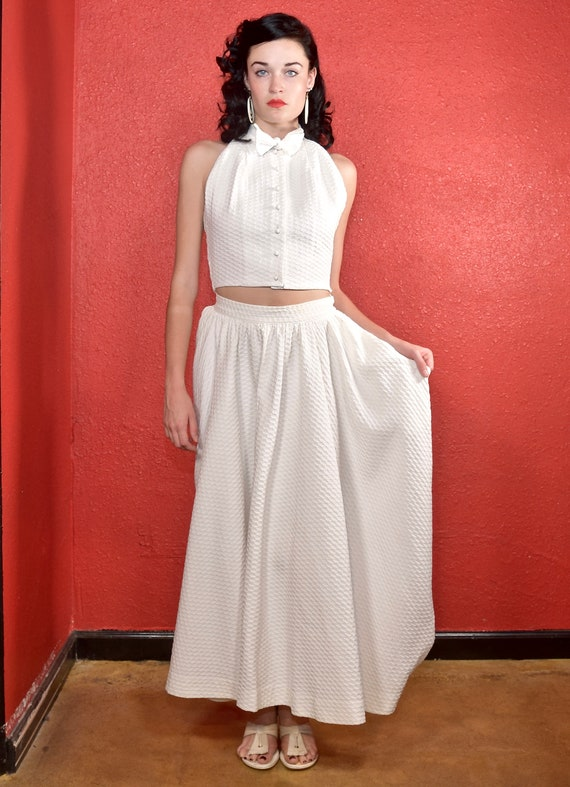 Rare Claire McCardell 1950s White Dress Two Piece - image 4