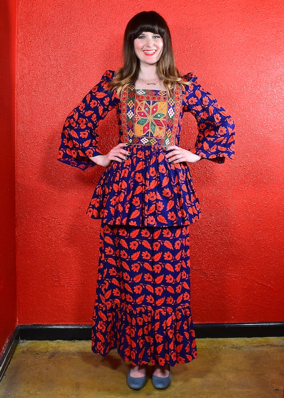 1970s Afghan Dress Embroidered Mirror Maxi