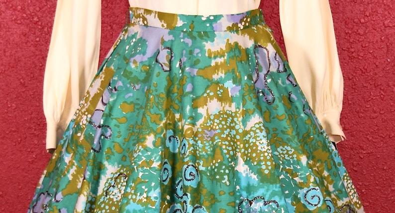 1950s Circle Skirt Cotton Swirls with Glitter Modern Jr Gale /& Gale