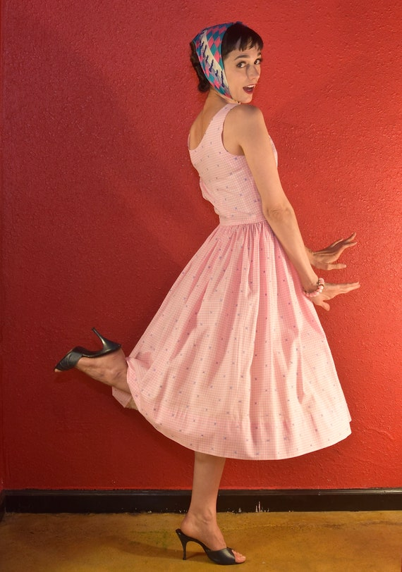 1950s Pink Gingham Dress Cotton Fit & Flare - image 4