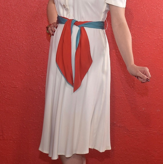 1940s Rayon Dress White with Color Block Tie Joan… - image 9