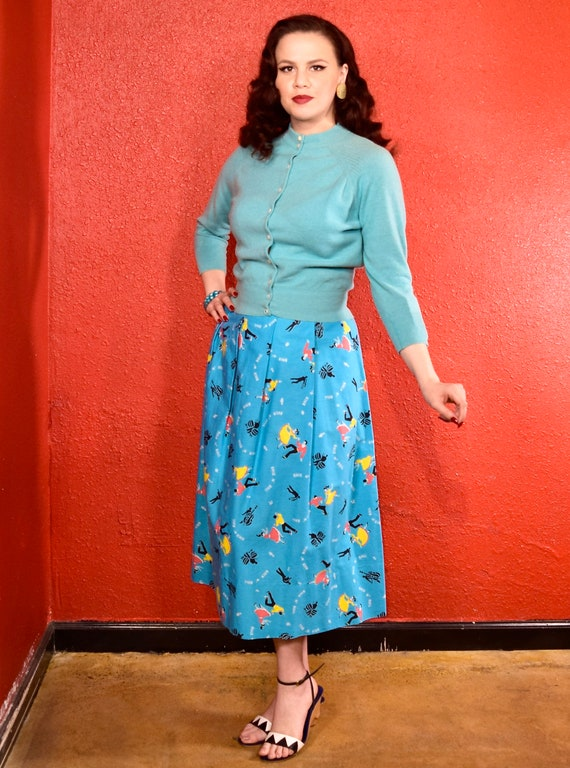 1950s Rock and Roll Novelty Print Skirt - image 5