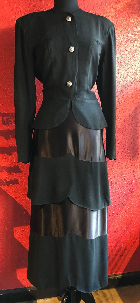 1930s 40s Black Crepe Skirt Suit Olga Original - image 6