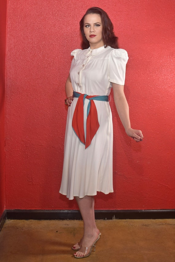 1940s Rayon Dress White with Color Block Tie Joan… - image 7