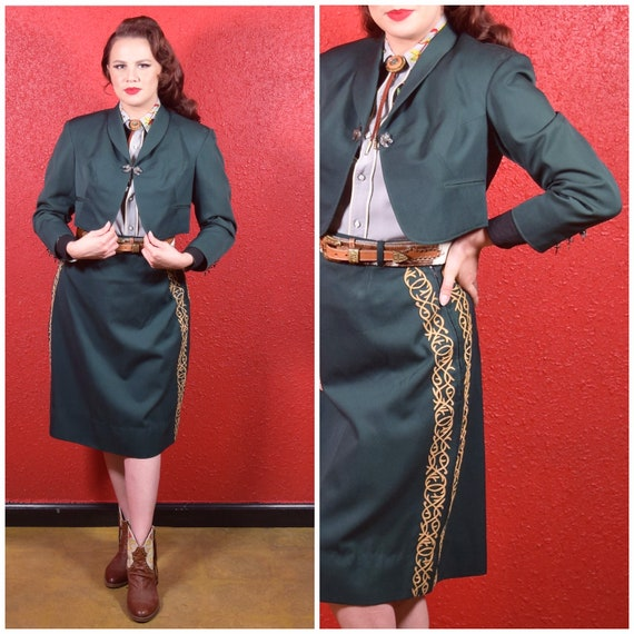 1940s Western Green Wool Skirt Suit Special Appliq